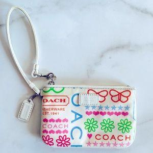 Coach Small Colorful Cartoon Doodle Wristlet